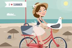 海边骑单车的度假女郎和海鸥矢量图