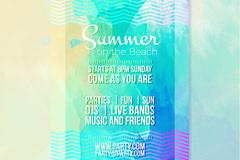 水彩绘夏季沙滩派对宣传单矢量图
