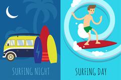 2款夏季冲浪插画矢量素材