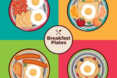 4款盛满食物的早餐盘矢量素材