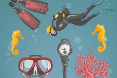 4款彩绘潜水元素和海马珊瑚矢量素材