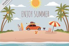 创意夏日海滩度假冲浪插画矢量图