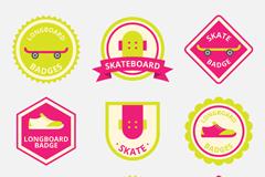 9款彩色滑板徽章矢量素材