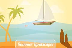 美丽夏季大海帆船和椰子树风景矢量素材