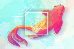 水彩绘海中红色的鱼矢量素材