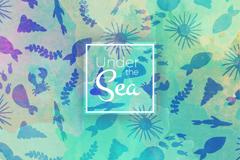 创意海洋生物剪影无缝背景矢量图