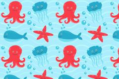 3种可爱海洋生物无缝背景矢量素材