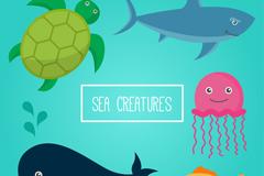 5款卡通海洋动物矢量素材