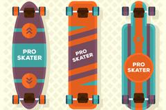 3款时尚滑板设计矢量素材