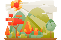 创意郊外山林风景矢量素材