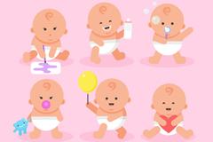 6款可爱婴儿设计矢量图