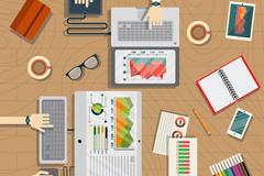 创意商务会议桌面俯视图矢量素材