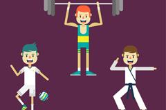 3个动感运动人物设计矢量素材