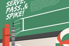 创意排球场隽语插画矢量素材