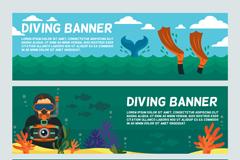 3款创意海底潜水banner矢量素材