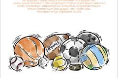水彩绘多种球类优发娱乐官网矢量优发娱乐