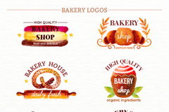 9款彩绘面包店标志矢量素材