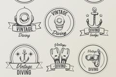 9款手绘潜水元素标志矢量素材
