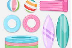 8款彩色夏季游泳圈和泳池充气玩具矢量素材