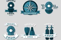6款创意潜水元素徽章矢量素材