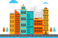 彩色城市楼群设计矢量素材