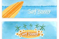 2款彩色冲浪板banner矢量图