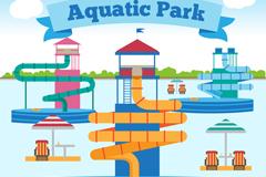 卡通水上公园设计矢量素材