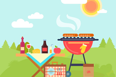 夏季郊外烧烤插画矢量素材