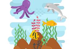 卡通海底世界鱼类和海草矢量素材