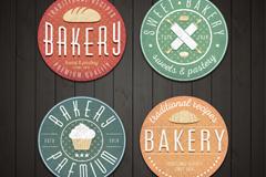 4款圆形面包店标签矢量素材