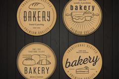 4款复古面包标签矢量素材
