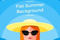 夏季沙滩度假女子头像矢量图