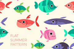卡通鱼类无缝背景矢量素材