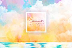 夏季海上日落风景矢量素材