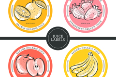 4款彩绘水果果汁标签矢量素材