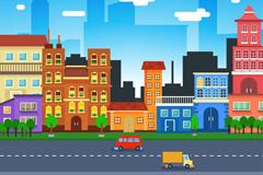 扁平化城市风光插画矢量素材