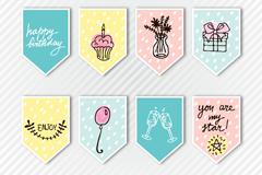 8款可爱生日卡片矢量素材