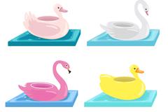4款鸟类形状水上充气玩具矢量图