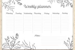 手绘花草一周计划表矢量素材