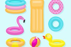 7款彩色水上充气玩具矢量图