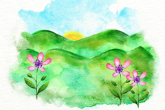 水彩绘夏季山野风景矢量图