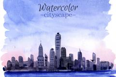 水彩绘海边城市风光矢量图