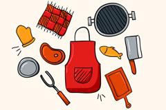 10款彩色烧烤与野餐元素矢量图