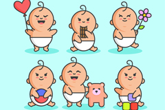 6款创意可爱婴儿矢量素材