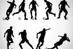 9款动感踢足球人物矢量素材