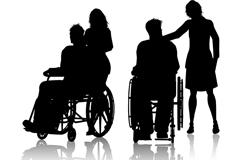 2组坐轮椅的人物与护理者剪影矢量图