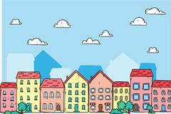 彩绘小镇楼群建筑矢量素材