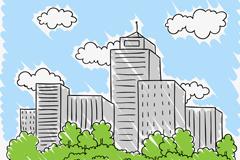 彩绘城市蓝天楼群建筑矢量素材