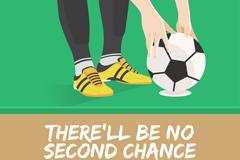 准备发球的脚和足球插画矢量素材