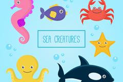 6款卡通章鱼螃蟹等海洋动物矢量